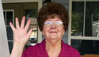 Mama Peggy Waving