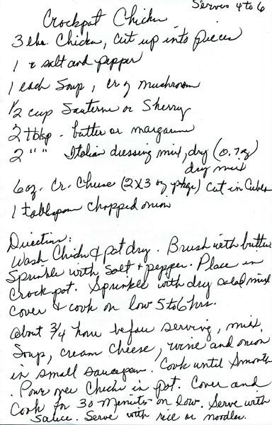 Peggy's Hand-Written Crock-Pot Chicken Recipe