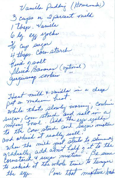 Peggy's Hand-written Vanilla Pudding Recipe