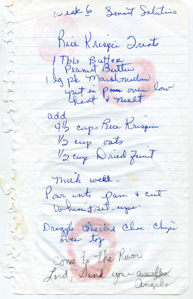 Hand-Written Peanut Butter Rice Krispie Treats Recipe